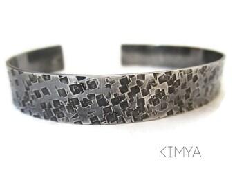 Printed Bracelet - Silver Bracelet - Cuff Bracelet - Rustic Bracelet - Hammered Bracelet - Wide Silver Bracelet - Contemporary Jewelry