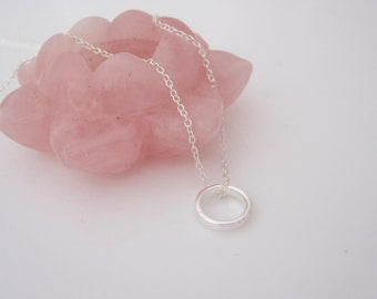 Infinity CIRCLE sterling silver pendant with necklace, minimalist circle of life, karma jewelry