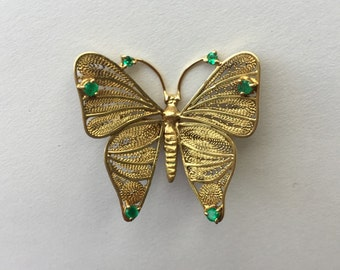 18K Yellow Gold Antique Filigree Butterfly Pin with Emeralds