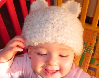 French Fuzzy Animal Ears Baby Cap Pattern PDF