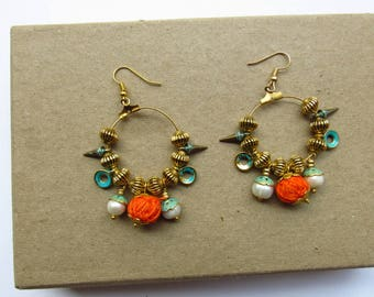 Orange Bohemian Hoop Earrings With Turquoise Spikes, Boho Style Statement Earrings, Charm Dangle Earrings