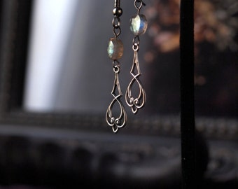 Fae Folk Earrings Silver Labradorite Fairytale Spring Wedding 2 inches