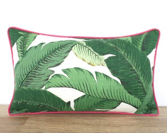 Palm leaf outdoor pillow cover 20x12, tropical cushion Palm Beach decor, tropical outside pillow cover swaying palm green and pink decor