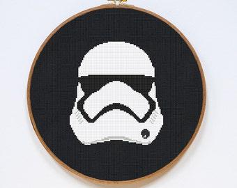 Stormtrooper, Star Wars Cross Stitch Pattern, Modern  Storm Trooper Helmet Cross Stitch Easy Chart, PDF Format, Instant Download