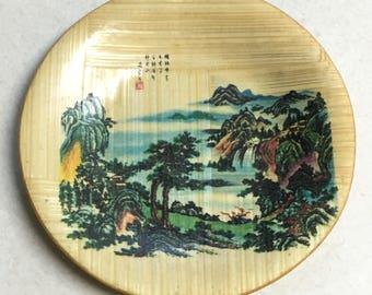 Vintage woven bamboo coaster ~ Asian Japan decor souvenir