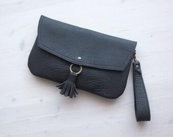 Tassel clutch, Wristlet clutch, Leather clutch, Brown leather clutch, Envelope clutch, Boho clutch, Vintage clutch, Magnet clutch