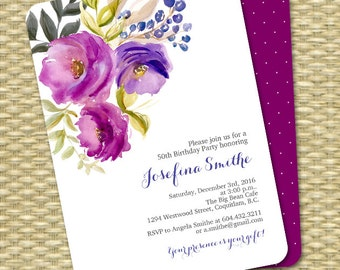 50th Birthday Invitation Printable Invitation Watercolor Floral Birthday Invite Milestone Adult Birthday ANY EVENT
