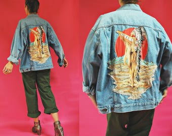 1980s Denim Jacket with Native American Chief Back- Upcycled