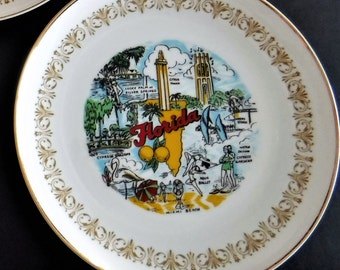 FLORIDA Souvenir Plate Trimmed in Gold, Sheffield Fine China Japan Imperial Gold 504 W, Florida Souvenir Plate 10 inch Plate, Imperial Gold