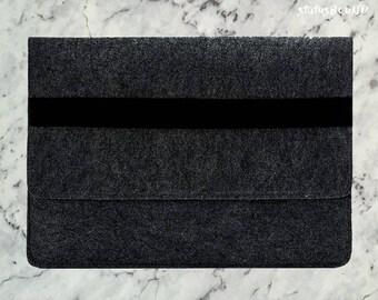 Felt Macbook Case Macbook Pro Case Macbook Air Case Macbook Sleeve Macbook Air Sleeve 13 inch 15 inch Dark Grey Elastic