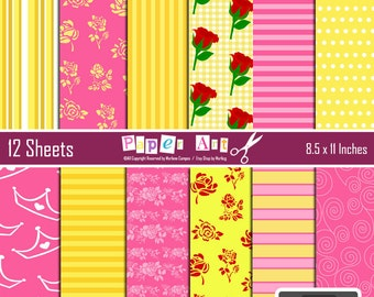 Belle digital papers, Beauty and the Beast Inspired Background, Pack Digital Scrapbooking, Scrapbooking Paper