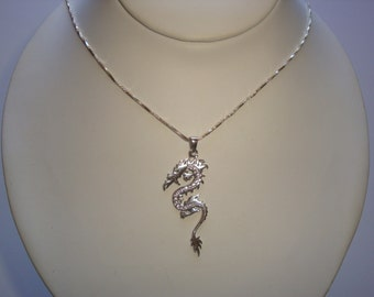 Sterling Silver Dragon / Serpent Necklace