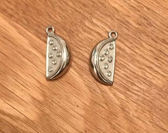 Antique Silver Tone Tibetan Silver Watermelon Sliver Pendant Charms 21mm x 10mm