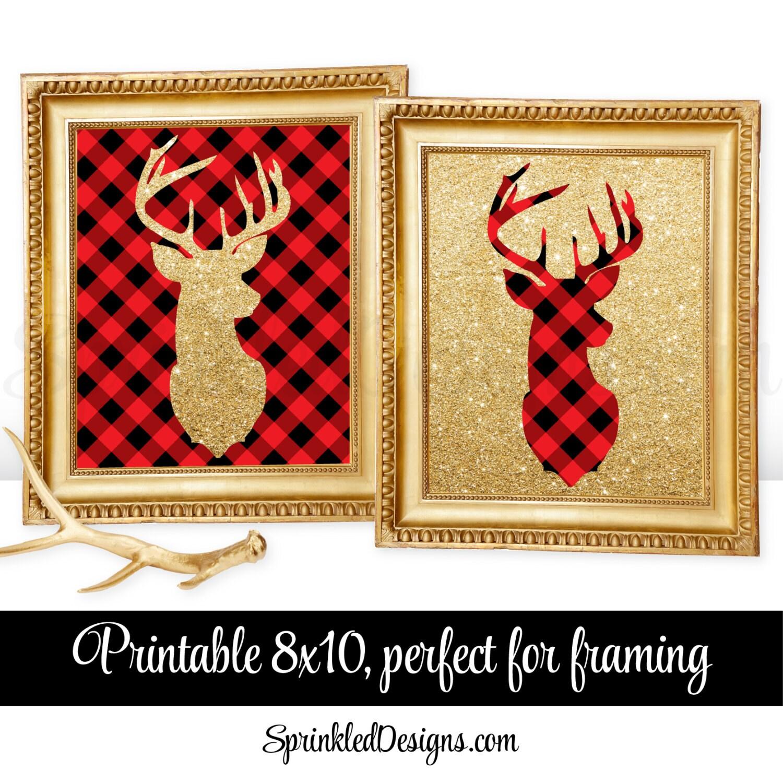 Printable Winter Home Decor Deer Head Signs Lumberjack Red