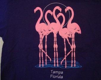Vintage 90's Tampa Florida Flamingos Tourist Souvenir Purple T Shirt Size XL