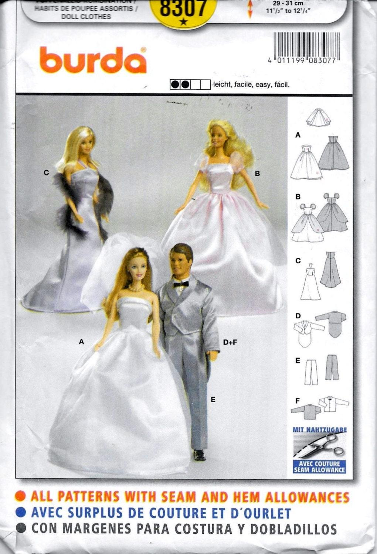 Burda 8307-Barbie & Ken Puppe Schnittmuster
