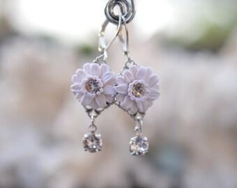 White Gerbera Daisy with Swarovski Crystals Earrings. White Gerbera Daisy Bridal Earrings.