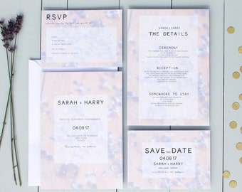 Lavender Wedding Invitation, Floral Wedding Invite, Purple Wedding Invitation Suite