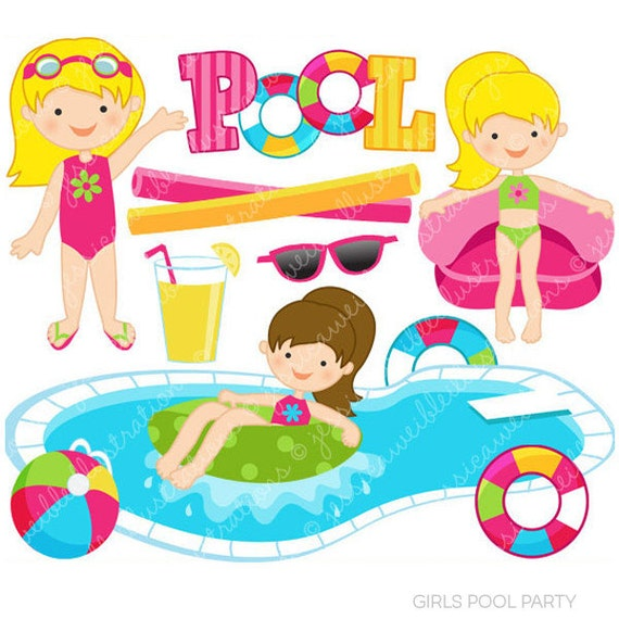 Girls pool party cute clipart pool party clip art summer for Free clipart swimming pool party