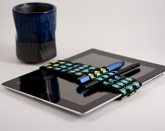 Med Bandolier (IPAD size) // space invaders // (a better pencil case, journal pen holder, book strap, pen loop, pencil roll, pen bandolier)