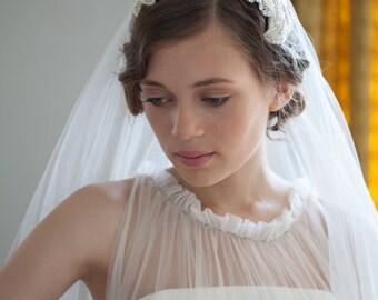 Wedding Headpiece and veil - Vintage style Bridal headpiece and drop veil set -1940s Wedding Dress -1930s Wedding Dress -Fingertip length