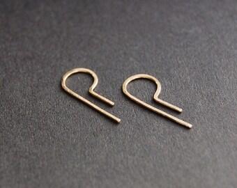 P Shape Open Hoop Earrings - gold earrings, gold hoop earrings, silver earrings, minimal earrings, minimalist earrings, threader earrings