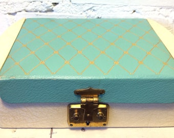 1950 Duck Egg Blue Cream Glod Cross jewellery box