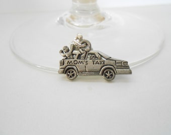 MOMs TAXI  4 Magentic Wine Charms - Dance, Work, Play Charms
