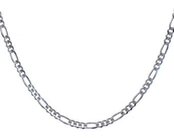 3 m chain silver plated figaro 4 x 8 mm