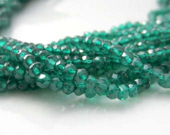 Green Onyx Rondelles, Faceted Green Onyx, Green Onyx Beads, Small Rondelles, Green Gemstone,  3mm Rondelle, Onyx Rondel- Half Strand