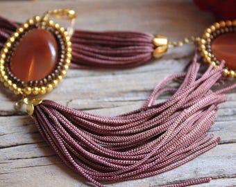 handcrafted jewelry, amber earrings, fringe earrings, long earrings, party earrings, gold and brown earrings, elegant earrings