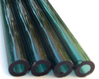 "Set of Four 11"" Teal Milkshake or Smoothie Straws, Hand Blown Glass, Eco Friendly and Hypoallergenic"