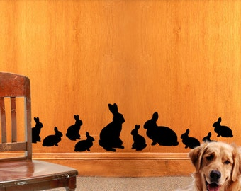 Woodland Decor Bunny Rabbit Wall Decals,  Family of 10 - Mom, Dad, 8 Baby Bunnies, Nature Decor Animal Decals (0177d2v)
