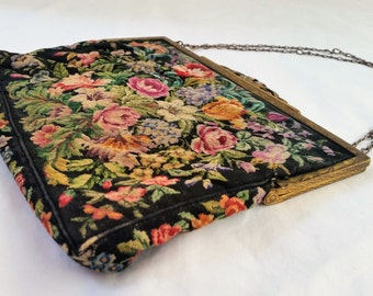 Vintage 1930's Floral Tapestry Purse Evening Bag Austrian Made