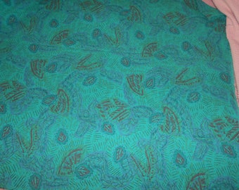 Vintage Fabric/8.66 Yds. Turqoise Cotton Fabric with Blue-Red Abstract Leaf Pattern