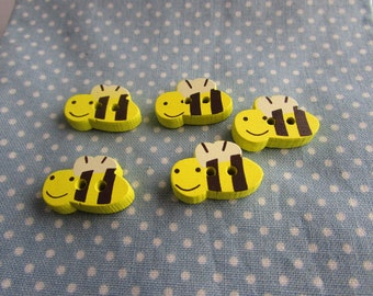 Wooden Bumble Bee Buttons