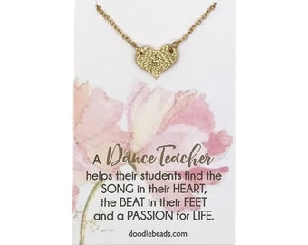 Gift for Dance Teacher, dance teacher thank you, Small Silver or Gold Hammered Heart Necklace carded jewelry dance quote, appreciation gift