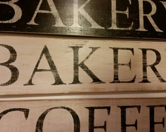 28 Inch Wooden Bakery Sign (White with Black Letters)