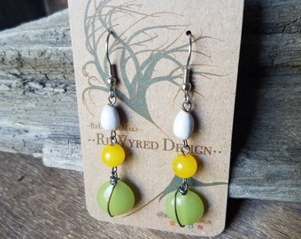 Green and Yellow Glass with Job's Tears Dangle Earrings