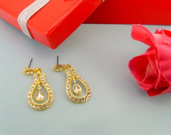 wedding jewelry,24k gold plated art deco rhinestone swarovski crystals post earrings wedding jewelry bridal jewelry  bridesmaid gift