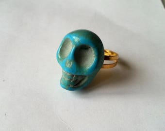 Mexican skull ring - turquoise blue
