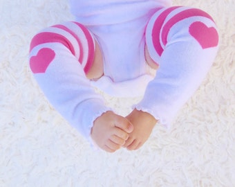 Baby Leg- White and pink hearts baby leg warmers