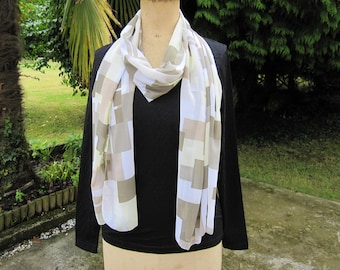 Shawl, scarf or cheche graphic pattern, beige, white, Khaki, pale yellow