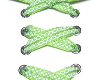 "THE SHOELACES SHOP-Lime Grosgrain Ribbon Shoelaces, Shoe Laces, Lime Green Shoelaces, Grosgrain Shoelaces, Shoestrings, ""Twist of Lime"""