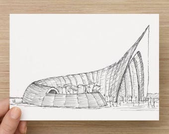Ink sketch of a wooden Temple - Art, Drawing, Ink, Sketchbook, Drawing, Art, Pen and Ink, Architecture, 5x7, 8x10, Print