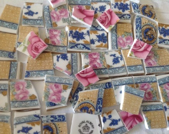 Broken China mosaic tiles~~Handcut Tiles~~~ViNTage PaTTerNs oF RoYaL ALBerT