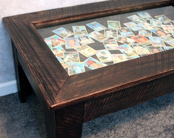"Brown Display Coffee Table. Rustic Shadowbox Table. Rustic Display Coffee Table. Keepsake Table. 40""l x 24""w x 18""t. Dark Brown Finish"