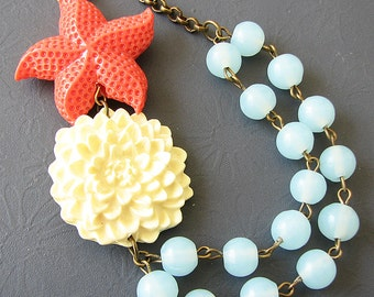 Statement Necklace Starfish Necklace Coral Necklace Mint Jewelry Starfish Jewelry Flower Necklace Beaded Necklace