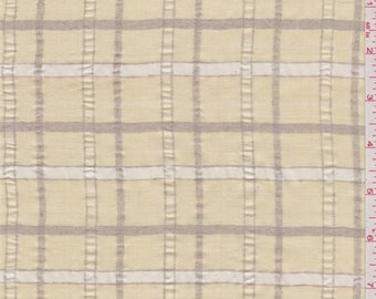Golden Beige Check Silk, Fabric By The Yard