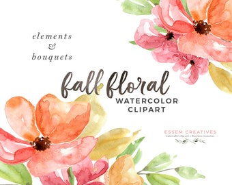 Fall Floral Clipart Watercolor Autumn Thanksgiving Invitation Bouquet Winter Wedding